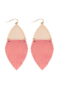 S7-4-3-AHDE2522PK PINK HALF FILIGREE AND HALF FRINGE LEATHER MARQUISE DROP EARRINGS/6PAIRS