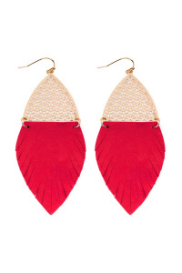 S7-4-3-AHDE2522RD RED HALF FILIGREE AND HALF FRINGE LEATHER MARQUISE DROP EARRINGS/6PAIRS