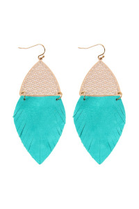 S7-4-4-AHDE2522TQ TURQUOISE HALF FILIGREE AND HALF FRINGE LEATHER MARQUISE DROP EARRINGS/6PAIRS