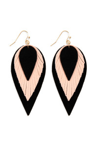 SA4-2-4-AHDE2553BK BLACK 3 LAYERS LEATHER REVERSE TEARDROP EARRINGS/6PAIRS