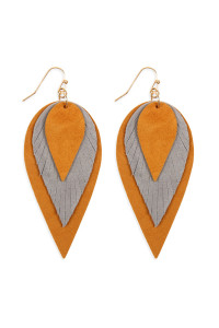 S4-5-2-AHDE2553BR BROWN 3 LAYERS LEATHER REVERSE TEARDROP EARRINGS/6PAIRS