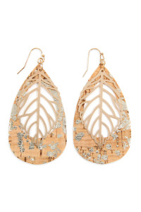 SA3-3-4-AHDE2554-2 STYLE 2 CORK PATTERN TEARDROP WITH METAL LEAF FILIGREE EARRINGS/6PAIRS