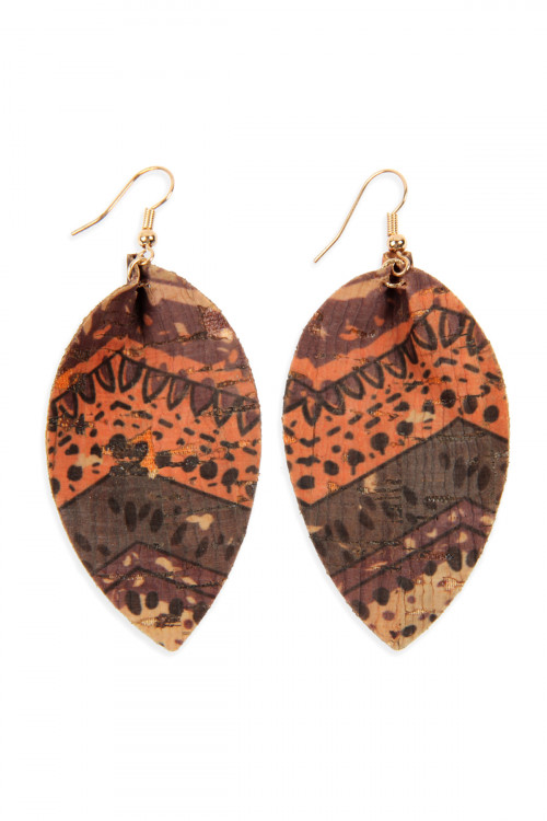 A1-2-4-AHDE2555AZT2 TRIBAL PATTERN PRINTED CORK REVERSE PINCHED TEARDROP EARRING/6PAIRS