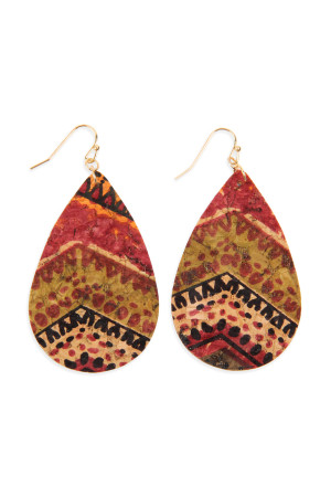 SA4-2-2-AHDE2556AZT1 TRIBAL PATTERN PRINTED CORK TEARDROP EARRING/6PAIRS