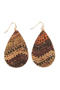 SA3-3-3-AHDE2556AZT2 TRIBAL PATTERN PRINTED CORK TEARDROP EARRING/6PAIRS