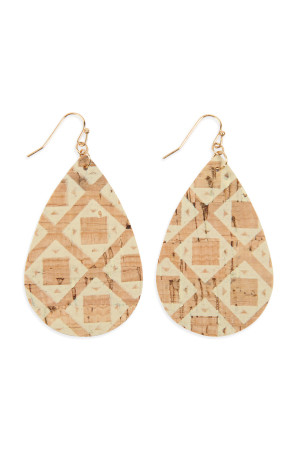 SA3-3-2-AHDE2556AZT3 TRIBAL PATTERN PRINTED CORK TEARDROP EARRING/6PAIRS