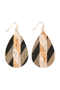SA4-2-2-AHDE2556BK BLACK PATTERN PRINTED CORK TEARDROP EARRING/6PAIRS