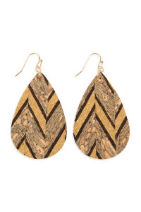 SA4-3-2-AHDE2556BR BROWN PATTERN PRINTED CORK TEARDROP EARRING/6PAIRS