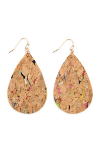 SA3-3-2-AHDE2556MT MULTI PATTERN PRINTED CORK TEARDROP EARRING/6PAIRS