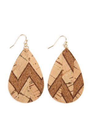 S5-6-4-AHDE2556NA1 TRIBAL PATTERN PRINTED CORK TEARDROP EARRING/6PAIRS
