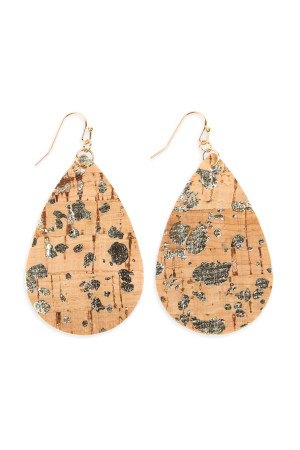 S6-6-4-AHDE2556NA2 TRIBAL PATTERN PRINTED CORK TEARDROP EARRING/6PAIRS