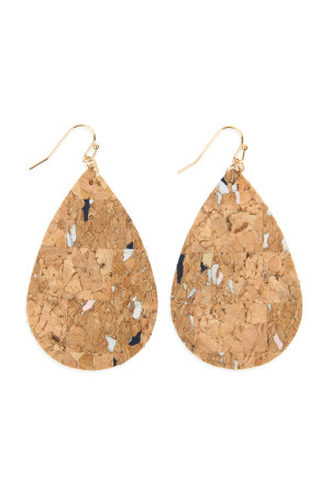 SA4-3-3-AHDE2556NA3 TRIBAL PATTERN PRINTED CORK TEARDROP EARRING/6PAIRS