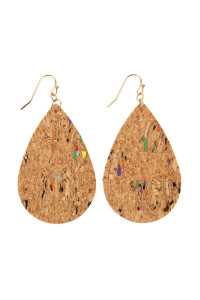 SA4-3-2-AHDE2556NA4 TRIBAL PATTERN PRINTED CORK TEARDROP EARRING/6PAIRS