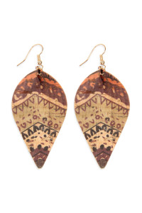 S6-4-3-AHDE2557AZT2 TRIBAL PATTERN PRINTED CORK PINCHED MARQUISE EARRING/6PAIRS