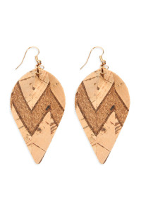 S6-4-4-AHDE2557NA1 TRIBAL PATTERN PRINTED CORK PINCHED MARQUISE EARRING/6PAIRS