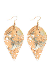 S5-6-1-AHDE2557NA2 STYLE 9 PATTERN PRINTED CORK PINCHED MARQUISE EARRINGS/6PAIRS