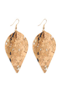S7-6-3-AHDE2557NA3 TRIBAL PATTERN PRINTED CORK PINCHED MARQUISE EARRING/6PAIRS