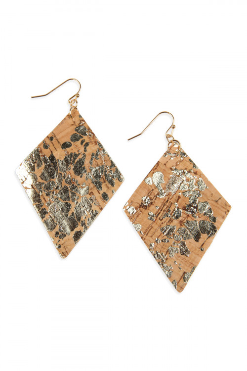 A2-2-4-AHDE2558NA2 TRIBAL PATTERN PRINTED CORK RHOMBUS SHAPE EARRING/6PAIRS