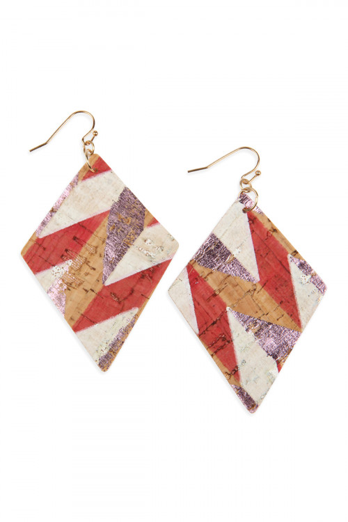 A2-3-2-AHDE2558PK PINK PATTERN PRINTED CORK RHOMBUS SHAPE EARRINGS/6PAIRS