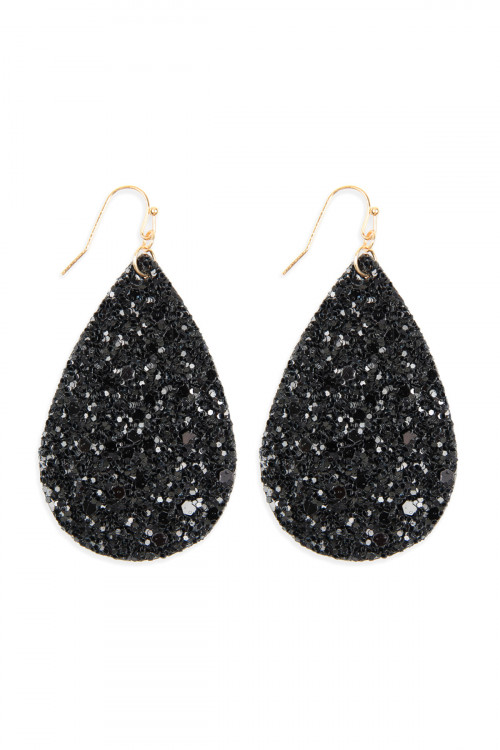 SA3-2-4-AHDE2560BK BLACK SEQUIN TEARDROP EARRINGS/6PAIRS