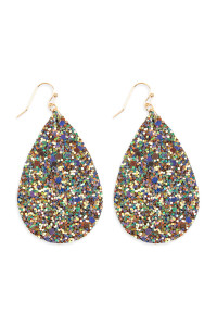 S4-5-2-AHDE2560GR GREEN SEQUIN TEARDROP EARRINGS/6PAIRS