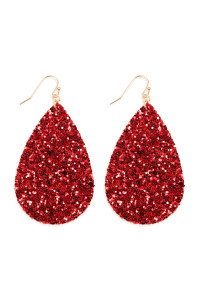 SA3-1-3-AHDE2560RD RED SEQUIN TEARDROP EARRINGS/6PAIRS