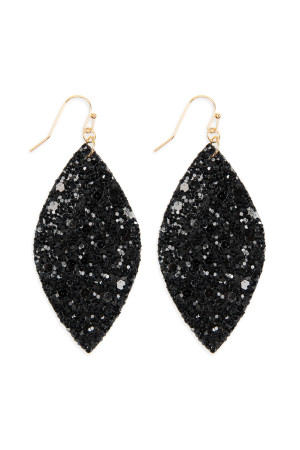 S4-6-3-AHDE2561BK BLACK SEQUIN MARQUISE DROP EARRINGS/6PAIRS