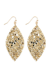 SA4-2-4-AHDE2561G GOLD SEQUIN MARQUISE DROP EARRINGS/6PAIRS