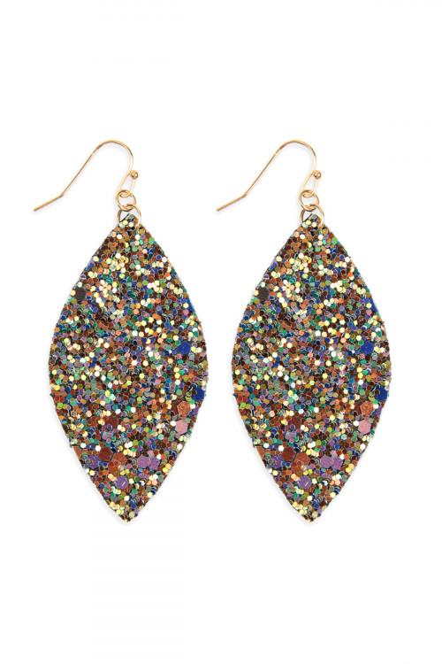 S6-4-1-HDE2561GR GREEN SEQUIN MARQUISE DROP EARRINGS/6PAIRS ***WARNING: California Proposition 65***