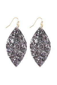 S4-5-2-AHDE2561PTW PEWTER SEQUIN MARQUISE DROP EARRINGS/6PAIRS