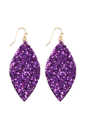 S6-4-3-AHDE2561PU PURPLE SEQUIN MARQUISE DROP EARRINGS/6PAIRS