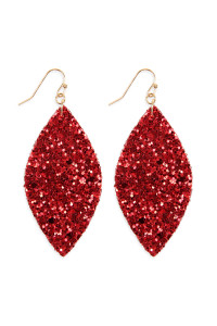 S4-6-3-AHDE2561RD RED SEQUIN MARQUISE DROP EARRINGS/6PAIRS