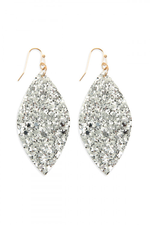 S6-4-1-AHDE2561S SILVER SEQUIN MARQUISE DROP EARRINGS/6PAIRS
