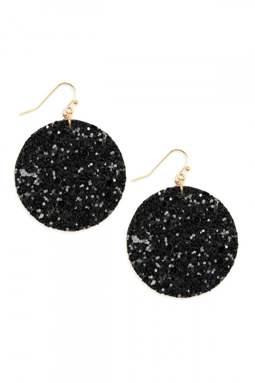 A2-1-4-AHDE2562BK BLACK SEQUIN CIRCLE DROP EARRINGS/6PAIRS