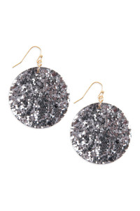 SA3-1-3-AHDE2562PTW PEWTER SEQUIN CIRCLE DROP EARRINGS/6PAIRS