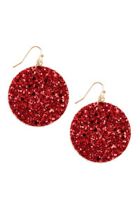 SA3-2-4-AHDE2562RD RED SEQUIN CIRCLE DROP EARRINGS/6PAIRS