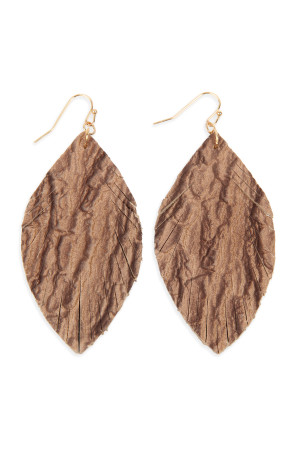 S6-4-3-AHDE2563BR BROWN FRINGED CRUMPLED MARQUISE LEATHER EARRINGS/6PAIRS