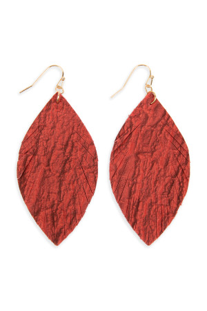 S6-5-3-AHDE2563RD RED FRINGED CRUMPLED MARQUISE LEATHER EARRINGS/6PAIRS
