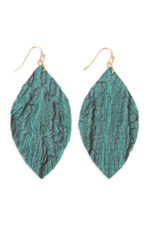 S6-4-3-AHDE2563TQ TURQUOISE FRINGED CRUMPLED MARQUISE LEATHER EARRINGS/6PAIRS