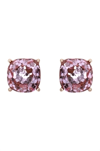 S6-4-3-AHDE2565PK PINK FACETED GLITTER CUSHION ACRYLIC POST EARRINGS/6PAIRS