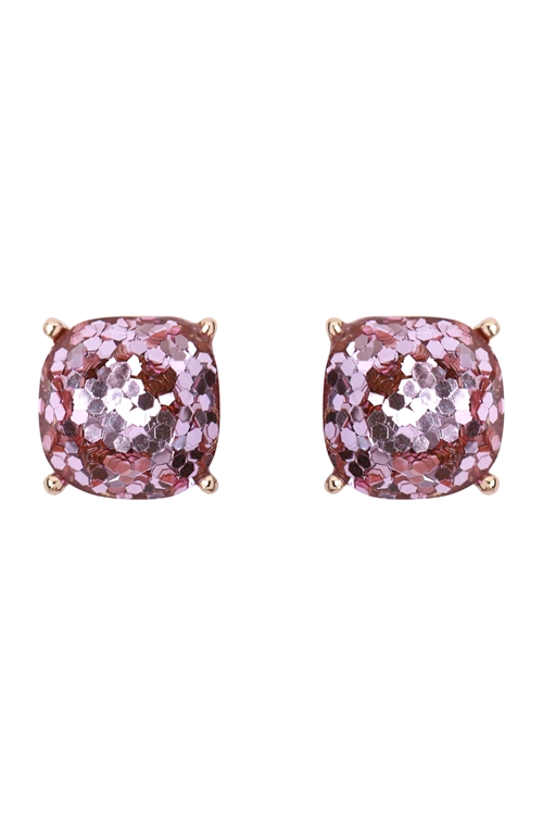 A1-2-4-AHDE2565PK PINK FACETED GLITTER CUSHION ACRYLIC POST EARRINGS/6PAIRS
