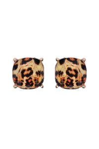 S6-5-2-AHDE2566L LEOPARD FACETED CUSHION GLITTER ACRYLIC POST EARRINGS/6PAIRS