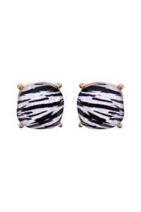 S6-5-2-AHDE2566Z ZEBRA FACETED CUSHION GLITTER ACRYLIC POST EARRINGS/6PAIRS