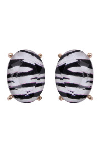 S5-6-4-AHDE2569ZEB ZEBRA OVAL FACETED ACRYLIC POST EARRINGS /6PAIRS