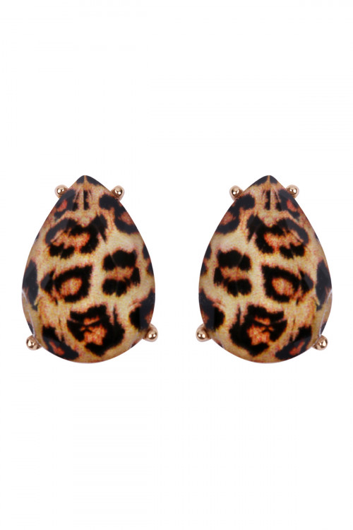 S5-6-4-AHDE2570LEO LEOPARD TEARDROP FACETED ACRYLIC POST EARRINGS/6PAIRS