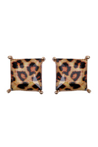 S7-4-3-AHDE2571LEO LEOPARD FACETED SQUARE ACRYLIC POST EARRINGS/6PAIRS