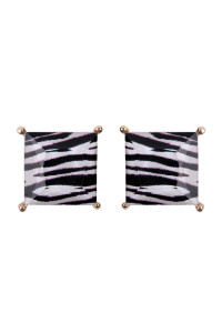 S7-4-3-AHDE2571ZEB ZEBRA FACETED SQUARE ACRYLIC POST EARRINGS/6PAIRS