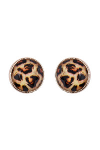 S6-4-3-AHDE2572LEO LEOPARD FACETED CIRCLE ACRYLIC POST EARRINGS/6PAIRS