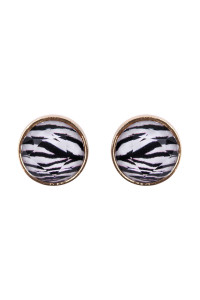 S6-4-3-AHDE2572ZEB ZEBRA FACETED CIRCLE ACRYLIC POST EARRINGS/6PAIRS