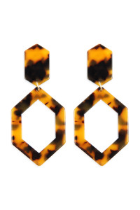 A2-2-2-AHDE2573BR BROWN LINKED POLYGON TORTOISE ACETATE DROP EARRINGS/6PAIRS